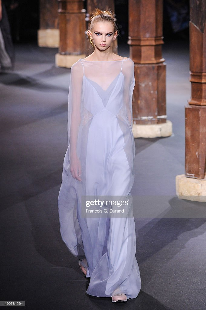 A model walks the runway during the Vionnet show as part of the Paris Fashion Week Womenswear Spring/Summer 2016 on September 30 2015 in Paris France