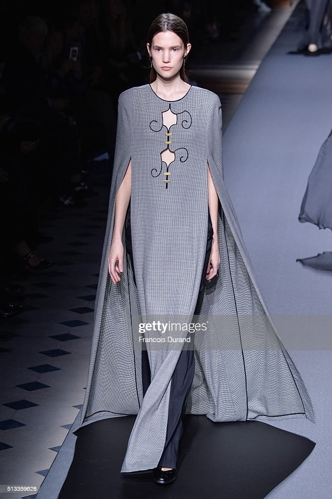 A model walks the runway during the Vionnet show as part of the Paris Fashion Week Womenswear Fall/Winter 2016/2017 on March 2 2016 in Paris France