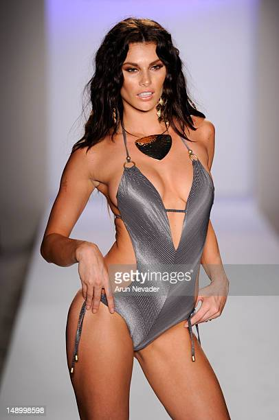 A model walks the runway during the Vitamin A By Amahlia Stevens fashion show at The Raleigh on July 20 2012 in Miami Florida