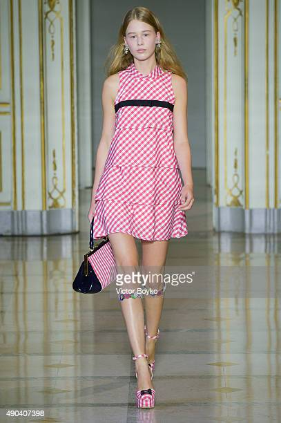 A model walks the runway during the Vivetta fashion show as part of Milan Fashion Week Spring/Summer 2016 on September 28 2015 in Milan Italy