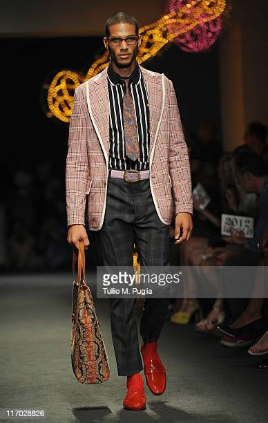 A model walks the runway during the Vivienne Westwood fashion show as part of Milan Fashion Week Menswear Spring/Summer 2012 on June 19 2011 in Milan...