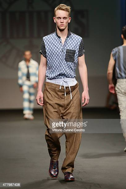 A model walks the runway during the Vivienne Westwood fashion show as part of Milan Men's Fashion Week Spring/Summer 2016 on June 21 2015 in Milan...