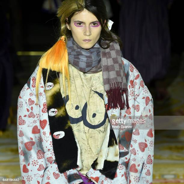 A model walks the runway during the Vivienne Westwood show as part of Paris Fashion Week Womenswear Fall/Winter 2017/2018 on March 4 2017 in Paris...