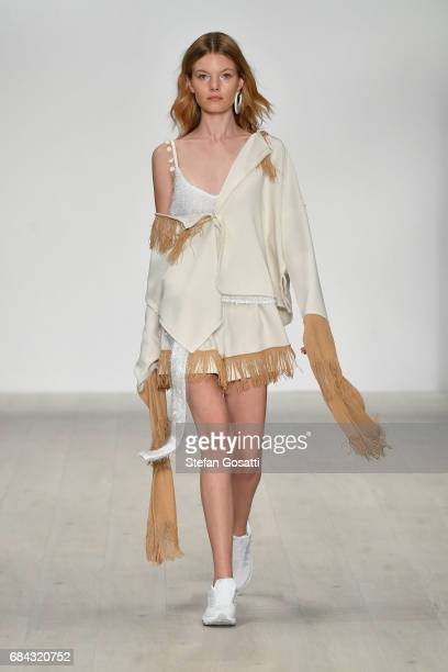 A model walks the runway during the Vmajor show at MercedesBenz Fashion Week Resort 18 Collections at Carriageworks on May 18 2017 in Sydney Australia