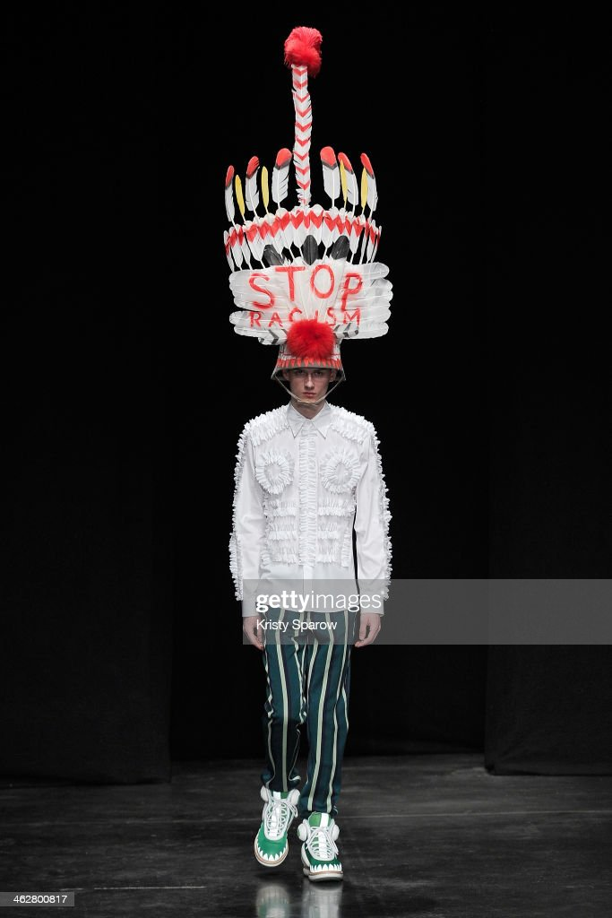 A model walks the runway during the Walter Van Beirendonck Menswear Fall/Winter 2014-2015 show as part of Paris Fashion Week on January 15, 2014 in Paris, France.