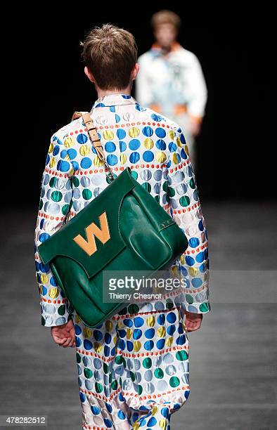 A model walks the runway during the Walter Van Beirendonck Menswear Spring/Summer 2016 show as part of Paris Fashion Week on June 24 2015 in Paris...