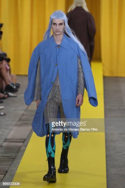 A model walks the runway during the Walter Van Beirendonck Menswear Spring/Summer 2018 show as part of Paris Fashion Week on June 21 2017 in Paris...