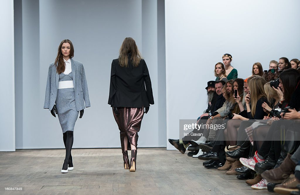 A model walks the runway during the Whyred fashion show at Mercedes-Benz Stockholm Fashion Week Autumn/Winter 2013 at Berns on January 29, 2013 in Stockholm, Sweden.