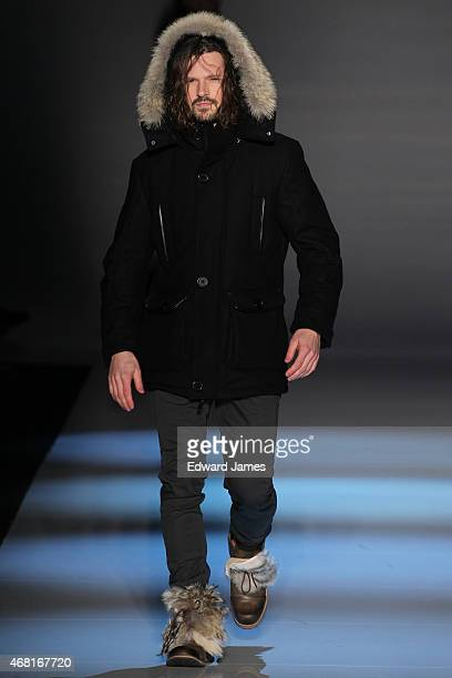 A model walks the runway during the Wild North fashion show at David Pecaut Square on March 27 2015 in Toronto Canada