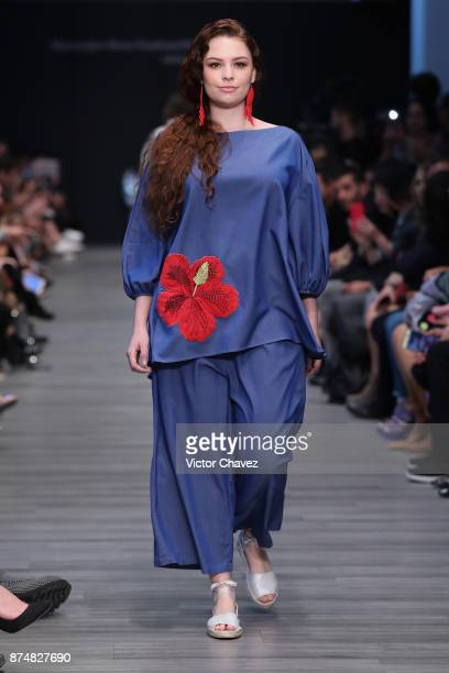 A model walks the runway during the Xico show at Mercedes Benz Fashion Week Mexico Spring/Summer 2018 at Altto San Angel on November 15 2017 in...