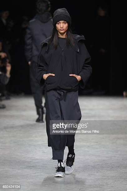 A model walks the runway during the Y3 Haute Couture Spring Summer 2017 show as part of Paris Fashion Week on January 22 2017 in Paris France