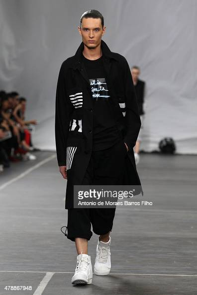 A model walks the runway during the Y3 Menswear Spring/Summer 2016 show as part of Paris Fashion Week on June 28 2015 in Paris France
