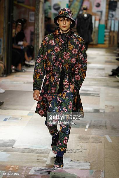 A model walks the runway during the Y3 Spring/Summer 2015 Show as part of Paris Fashion Week Menswear S/S 2015 at Couvent des Cordeliers on June 29...