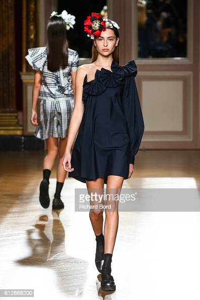 A model walks the runway during the YDE show as part of the Paris Fashion Week Womenswear Spring/Summer 2017 at Hotel Westin on October 5 2016 in...