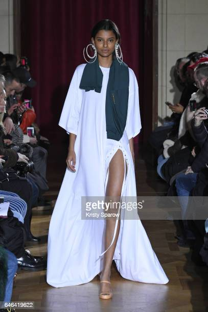 A model walks the runway during the Y/Project show as part of Paris Fashion Week Womenswear Fall/Winter 2017/2018 on February 28 2017 in Paris France