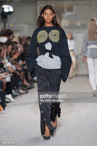 A model walks the runway during the Y/Project show as part of the Paris Fashion Week Womenswear Spring/Summer 2017 on September 27 2016 in Paris...