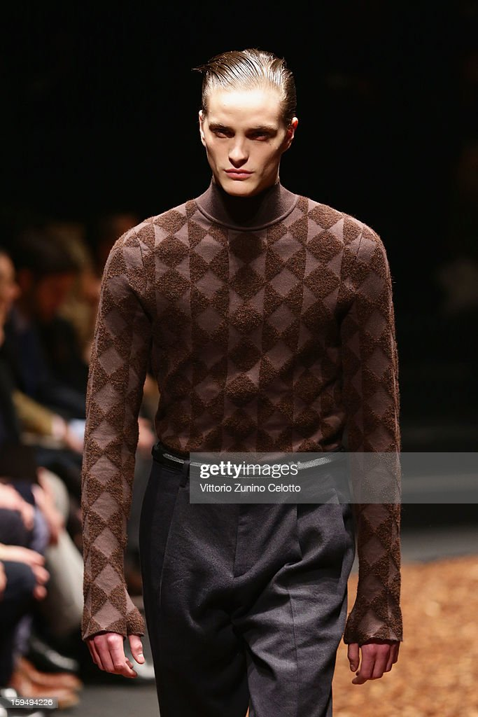 A model walks the runway during the Z Zegna show as part of Milan Fashion Week Menswear Autumn/Winter 2013 on January 14, 2013 in Milan, Italy.