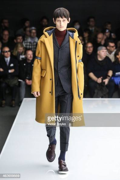 A model walks the runway during the Z Zegna show as part of Milan Fashion Week Menswear Autumn/Winter 2014 on January 14 2014 in Milan Italy
