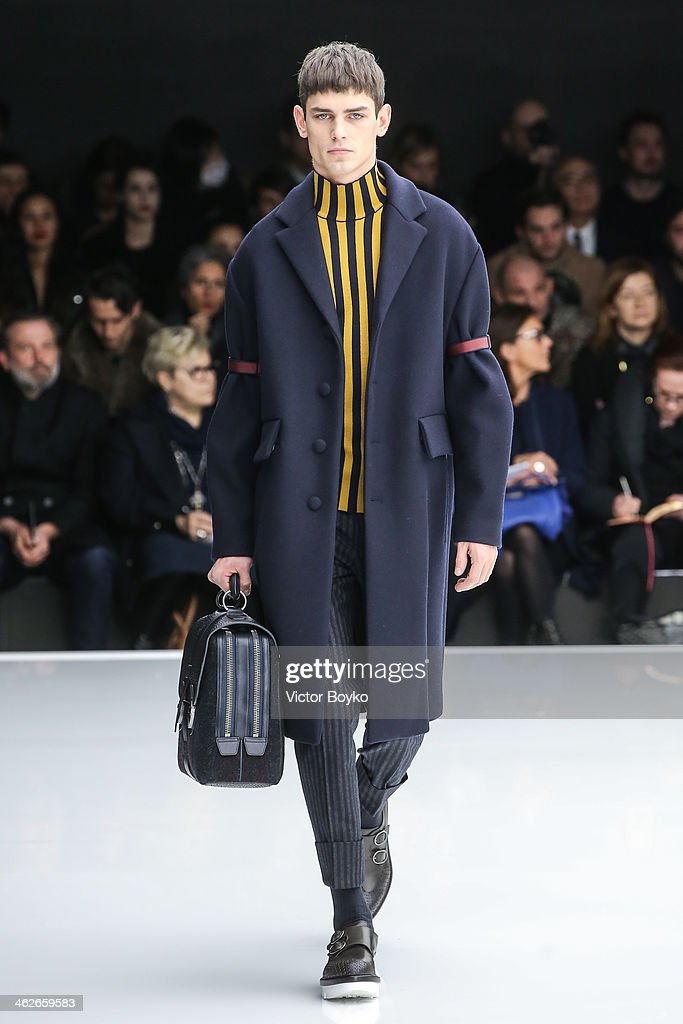 A model walks the runway during the Z Zegna show as part of Milan Fashion Week Menswear Autumn/Winter 2014 on January 14, 2014 in Milan, Italy.