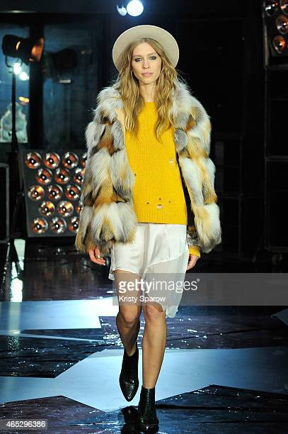A model walks the runway during the Zadig Voltaire show as part of Paris Fashion Week Womenswear Fall/Winter 2015/2016 on March 5 2015 in Paris France