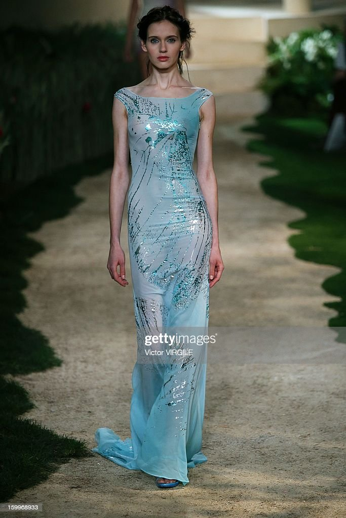 A model walks the runway during the Zahia Lingerie Spring/Summer 2013 Haute-Couture show as part of Paris Fashion Week at Palais De Tokyo on January 23, 2013 in Paris, France.