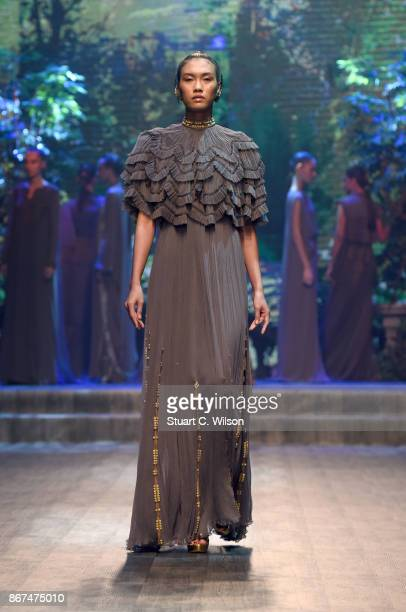 A model walks the runway during the Zareena show at Fashion Forward October 2017 held at the Dubai Design District on October 28 2017 in Dubai United...
