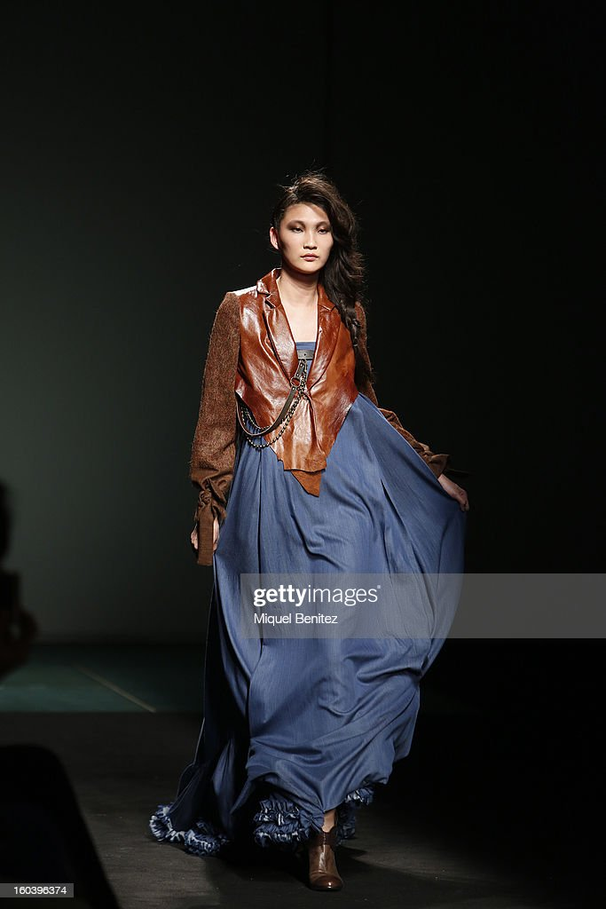 A model walks the runway during the Zazo & Brull fashion show as part of the 080 Barcelona Fashion Week Autumn/Winter 2013-2014 on January 30, 2013 in Barcelona, Spain.