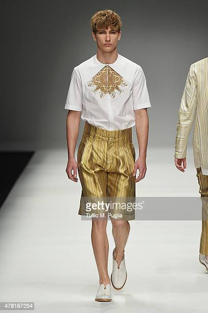 A model walks the runway during the Zeng Fengfei fashion show as part of Milan Men's Fashion Week Spring/Summer 2016 on June 23 2015 in Milan Italy
