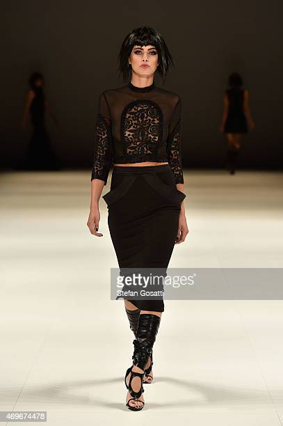 A model walks the runway during the Zhivago show at MercedesBenz Fashion Week Australia 2015 at Carriageworks on April 14 2015 in Sydney Australia