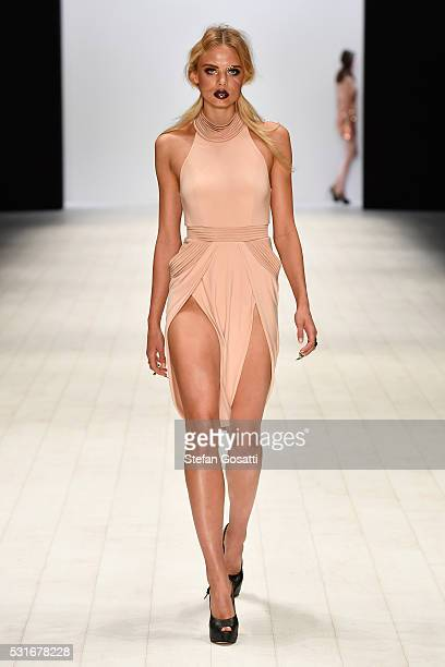 A model walks the runway during the Zhivago show at MercedesBenz Fashion Week Resort 17 Collections at Carriageworks on May 16 2016 in Sydney...