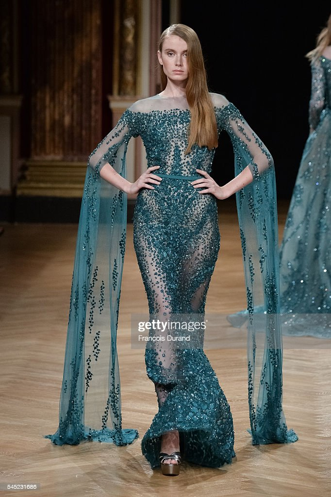 A model walks the runway during the Ziad Nakad Haute Couture Fall/Winter 20162017 show as part of Paris Fashion Week on July 6 2016 in Paris France