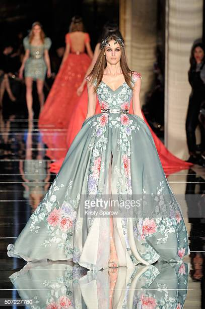 A model walks the runway during the Zuhair Murad Haute Couture Spring Summer 2016 show as part of Paris Fashion Week on January 27 2016 in Paris...