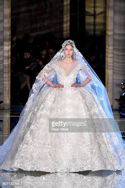 A model walks the runway during the Zuhair Murad Spring Summer 2016 show as part of Paris Fashion Week on January 27 2016 in Paris France