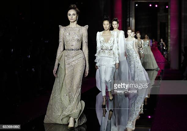 A model walks the runway during the Zuhair Murad Spring Summer 2017 show as part of Paris Fashion Week on January 25 2017 in Paris France