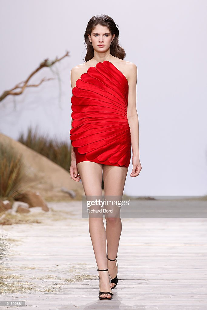 A model walks the runway during the Zuhaitz show as part of Paris Fashion Week Haute Couture Spring/Summer 2014 in Les Beaux Arts on January 22, 2014 in Paris, France.