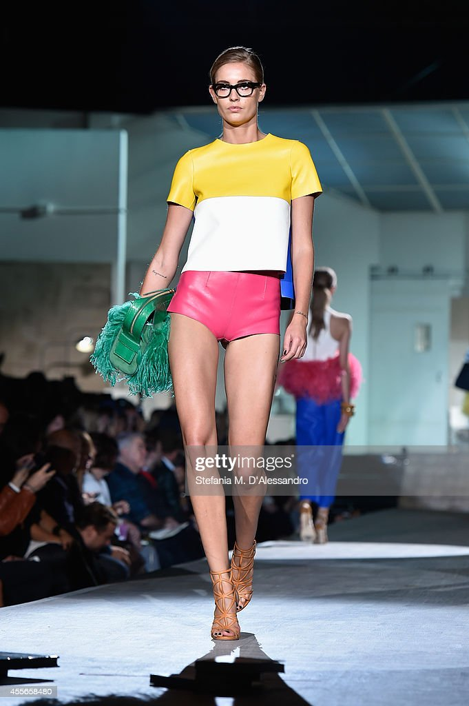 A model walks the runway during theDSquared2 show as part of Milan Fashion Week Womenswear Spring/Summer 2015 on September 18 2014 in Milan Italy