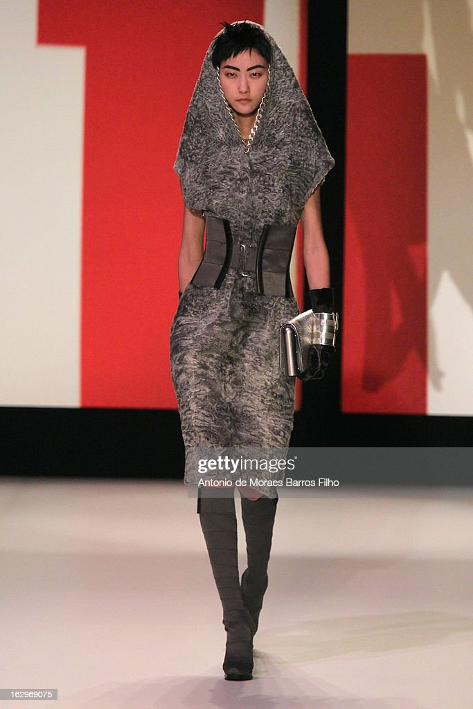 A model walks the runway during theJean Paul Gaultier Fall/Winter 2013 Ready-to-Wear show as part of Paris Fashion Week on March 2, 2013 in Paris, France.