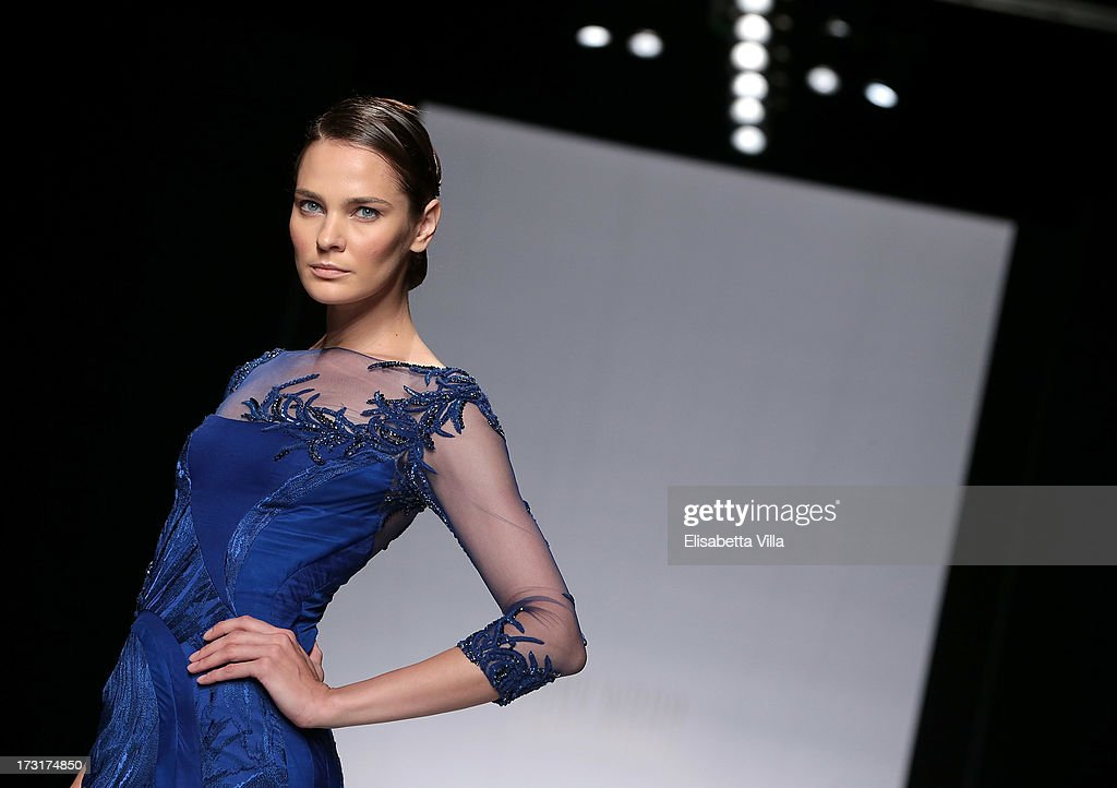 A model walks the runway during Tony Ward F/W 2013-2014 Haute Couture collection fashion show as part of AltaRoma AltaModa Fashion Week at Santo Spirito In Sassia on July 9, 2013 in Rome, Italy.