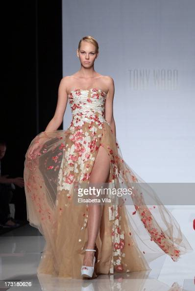 A model walks the runway during Tony Ward F/W 20132014 Haute Couture collection fashion show as part of AltaRoma AltaModa Fashion Week at Santo...