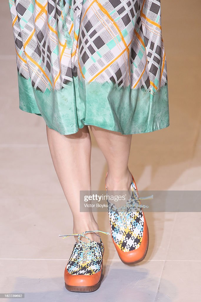 A model walks the runway during Tsumori Chisato show as part of the Paris Fashion Week Womenswear Spring/Summer 2014 on September 28, 2013 in Paris, France.