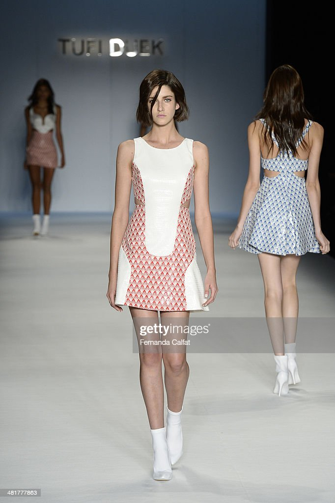 A model walks the runway during Tufi Duek show at Sao Paulo Fashion Week Summer 2014/2015 at Parque Candido Portinari on March 31, 2014 in Sao Paulo, Brazil.