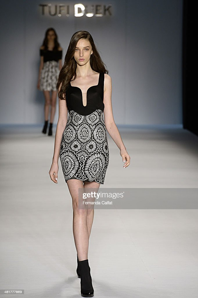 A model walks the runway during Tufi Duek show at Sao Paulo Fashion Week Summer 2014/2015 at Parque Candido Portinari on March 31, 2014 in Sao Paulo, Brazil.
