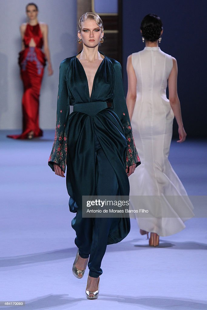 A model walks the runway during Ulyana Sergeenko show as part of Paris Fashion Week Haute Couture Spring/Summer 2014 on January 21, 2014 in Paris, France.