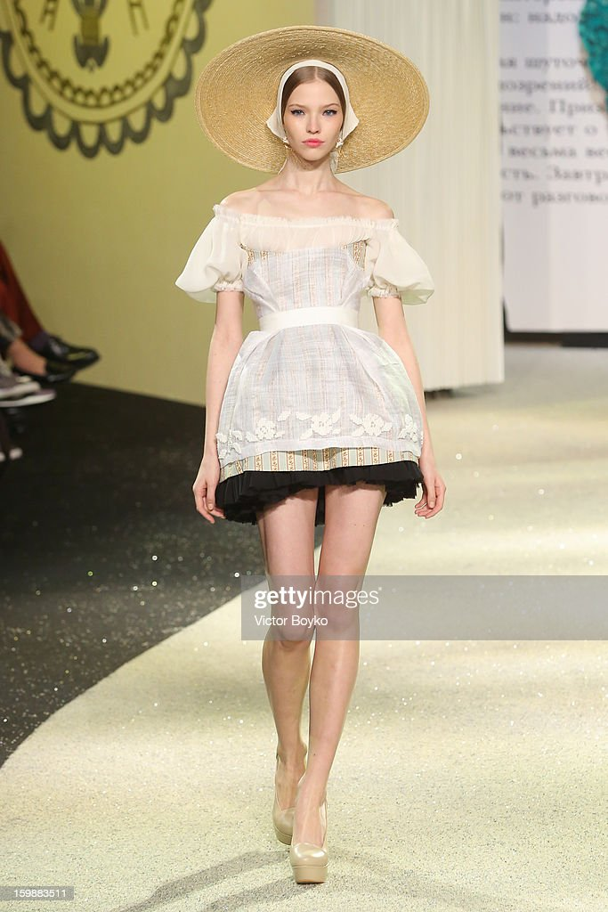 A model walks the runway during Ulyana Sergeenko Spring/Summer 2013 Haute-Couture show as part of Paris Fashion Week at Theatre Marigny on January 22, 2013 in Paris, France.