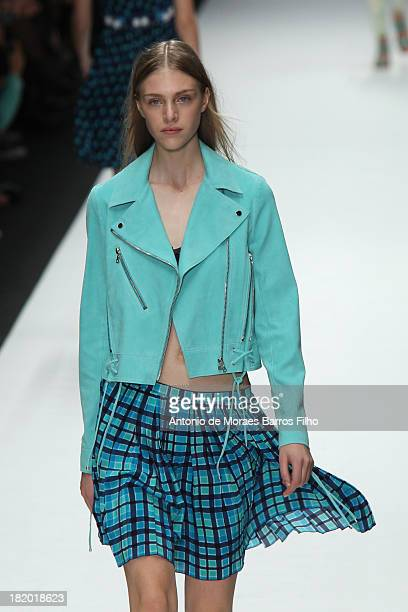 A model walks the runway during Vanessa Bruno show as part of the Paris Fashion Week Womenswear Spring/Summer 2014 on September 27 2013 in Paris...
