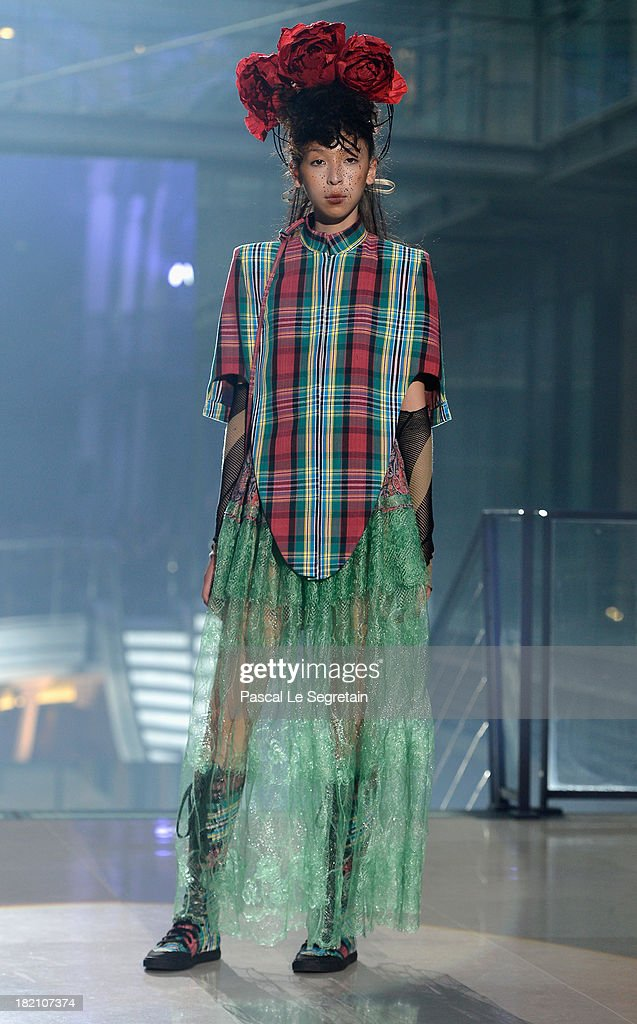 A model walks the runway during Vivienne Westwood show as part of the Paris Fashion Week Womenswear Spring/Summer 2014 at Le Centorial on September 28, 2013 in Paris, France.