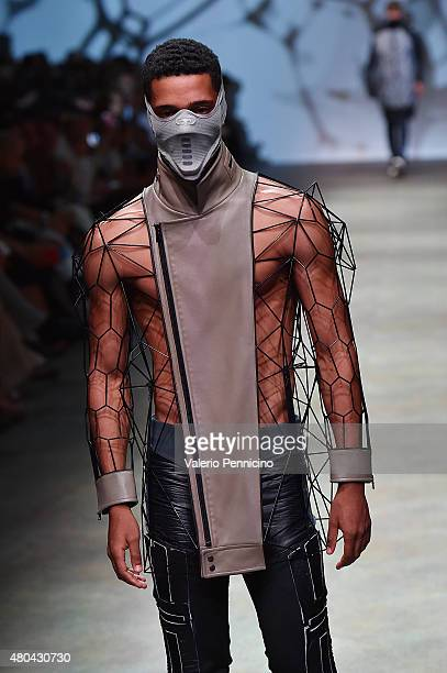 A model walks the runway during Yunseo Choi fashion show as part of International Talent Support 2015 Samsung Galaxy Award Fashion Show on July 11...