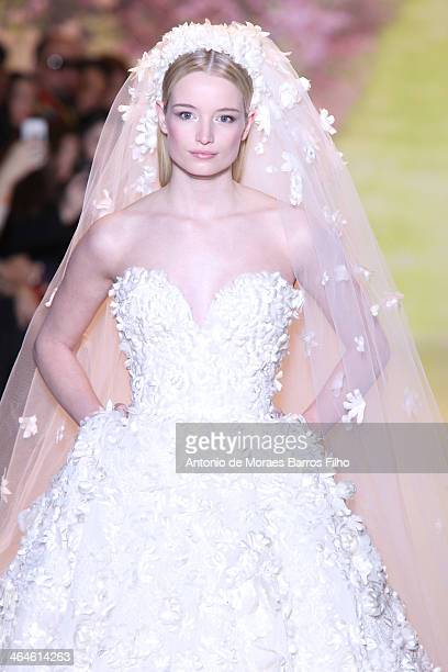 A model walks the runway during Zuhair Murad Prive show as part of Paris Fashion Week Haute Couture Spring/Summer 2014 on January 23 2014 in Paris...