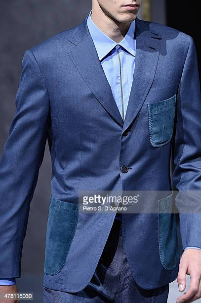 A model walks the runway fashion detail during the Brioni fashion show as part of Milan Men's Fashion Week Spring/Summer 2016 on June 22 2015 in...
