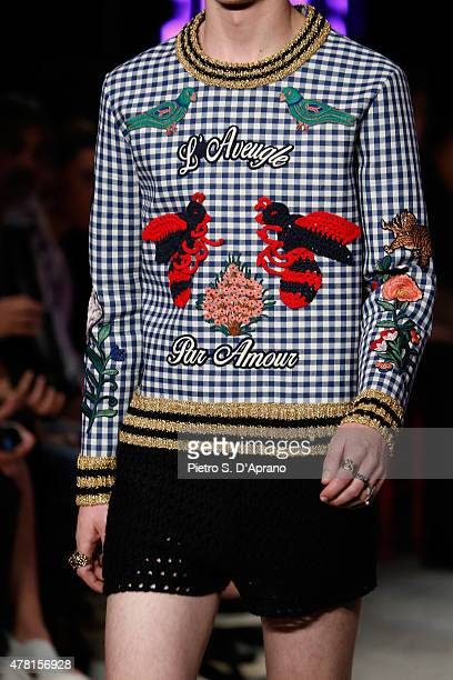 A model walks the runway fashion detail during the GUCCI fashion show as part of Milan Men's Fashion Week Spring/Summer 2016 on June 22 2015 in Milan...